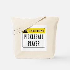 Caution Pickleball Player Tote Bag