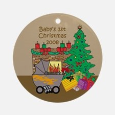 2008 Rat Rod 1st Christmas Ornament (Round)