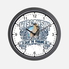 Save the Penguin Wisconsin Wall Clock