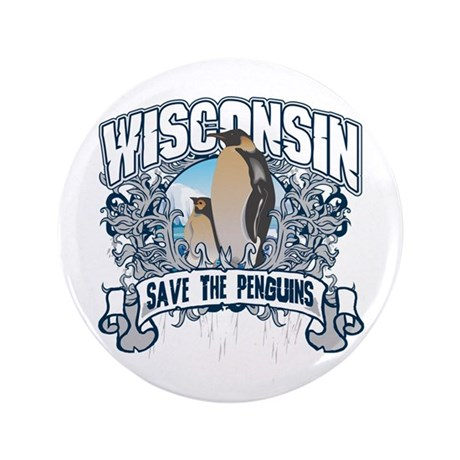 """Save the Penguin Wisconsin 3.5"""" Button"""