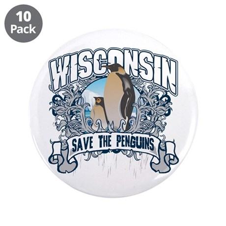 "Save the Penguin Wisconsin 3.5"" Button (10 pack)"