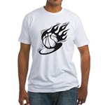 Flaming Basketball Fitted T-Shirt