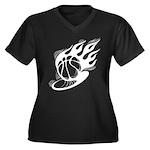 Flaming Basketball Women's Plus Size V-Neck Dark T