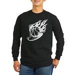 Flaming Basketball Long Sleeve Dark T-Shirt