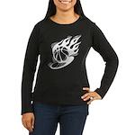Flaming Basketball Women's Long Sleeve Dark T-Shir