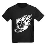 Flaming Basketball Kids Dark T-Shirt