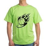 Flaming Basketball Green T-Shirt