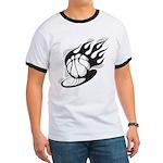 Flaming Basketball Ringer T