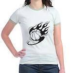 Flaming Basketball Jr. Ringer T-Shirt