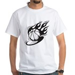Flaming Basketball White T-Shirt