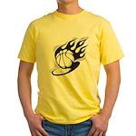 Flaming Basketball Yellow T-Shirt