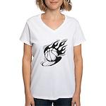 Flaming Basketball Women's V-Neck T-Shirt