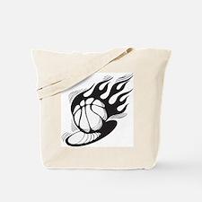 Flaming Basketball Tote Bag