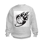 Flaming Basketball Kids Sweatshirt