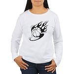 Flaming Basketball Women's Long Sleeve T-Shirt