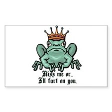 Kiss Me or I'll Fart Frog Rectangle Decal