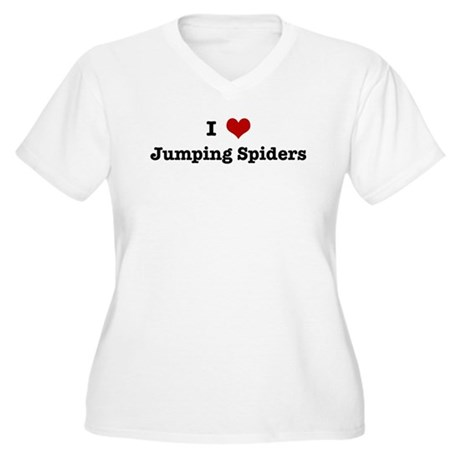 I love Jumping Spiders Women's Plus Size V-Neck T-
