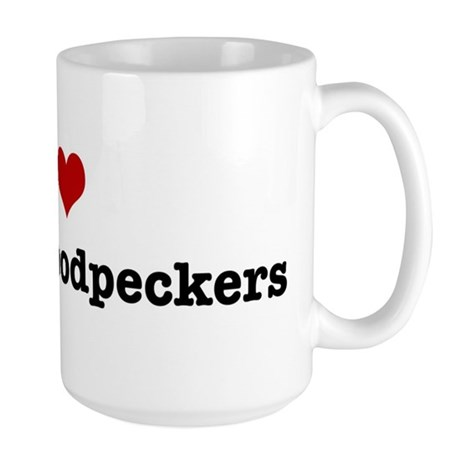 I love Downy Woodpeckers Large Mug