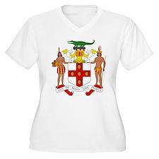 Jamaica White Women's V-Neck Plus Size T-Shirt