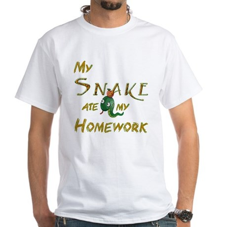 My Snake Ate My Homework Men's White T-Shirt