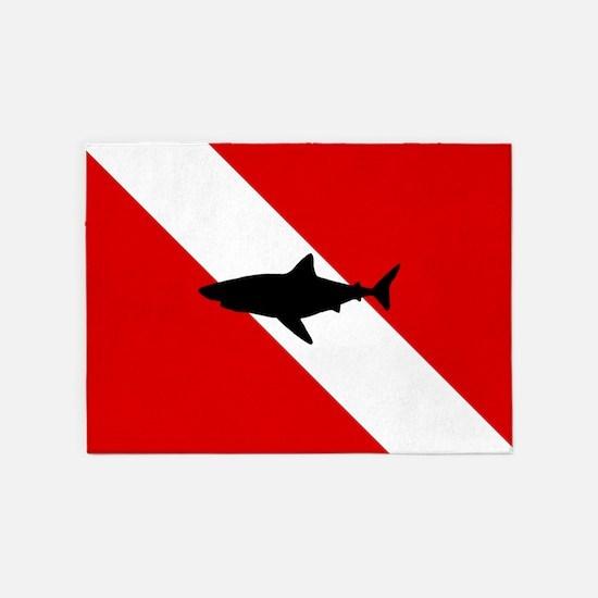 Diving Flag: Shark 5'x7'Area Rug