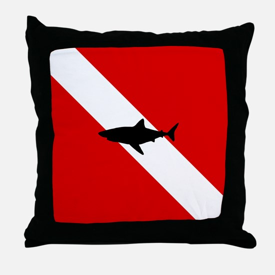 Diving Flag: Shark Throw Pillow