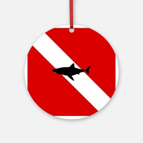 Diving Flag: Shark Round Ornament