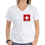 Swiss Cross-2 Women's V-Neck T-Shirt