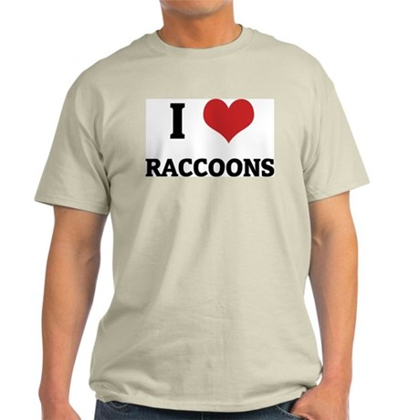 I Love Raccoons Ash Grey T-Shirt