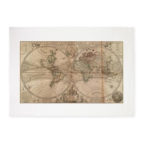 Vintage Map Of The World (1709) 5u0027x7u0027Area Rug