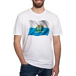 Wavy San Marino Flag Fitted T-Shirt