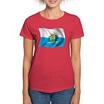 Wavy San Marino Flag Women's Dark T-Shirt