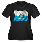 Wavy San Marino Flag Women's Plus Size V-Neck Dark