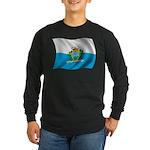Wavy San Marino Flag Long Sleeve Dark T-Shirt