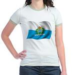 Wavy San Marino Flag Jr. Ringer T-Shirt