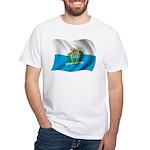 Wavy San Marino Flag White T-Shirt