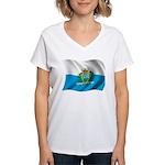 Wavy San Marino Flag Women's V-Neck T-Shirt