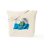 Wavy San Marino Flag Tote Bag