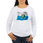Wavy San Marino Flag Women's Long Sleeve T-Shirt