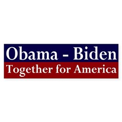 Obama-Biden, Together for America Bumper Sticker