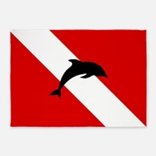 Diving Flag: Dolphin 5'x7'Area Rug