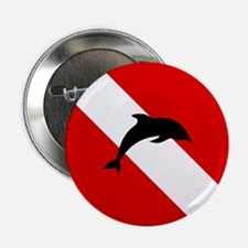 """Diving Flag: Dolphin 2.25"""" Button (10 pack)"""