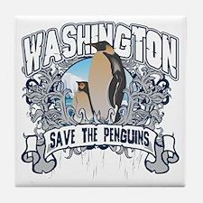 Save the Penguin Washington Tile Coaster