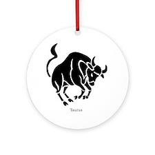 Taurus Zodiac Astrology Tattoo Ornament (Round)