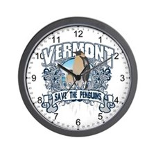 Save the Penguin Vermont Wall Clock