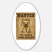 """""""Wanted"""" Yorkie Oval Decal"""