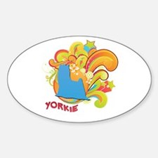 Groovy Yorkie Oval Decal