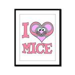 I Love (Heart) Mice Framed Panel Print
