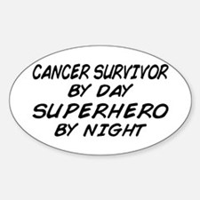 Cancer Survivor Superhero Oval Decal