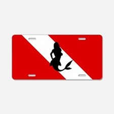 Diving Flag: Mermaid Aluminum License Plate